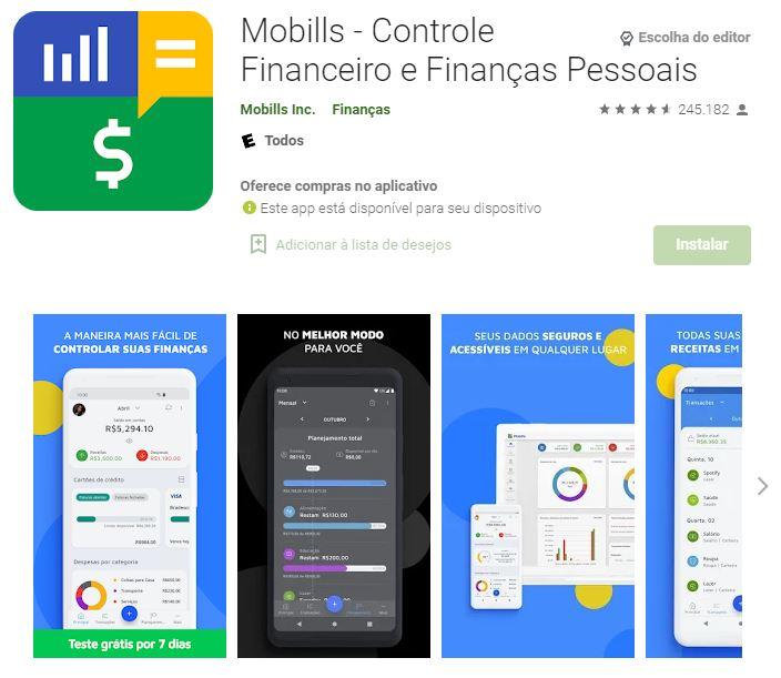 Página do Mobills na Google Play (Imagem: Divulgação/Mobills Inc.)