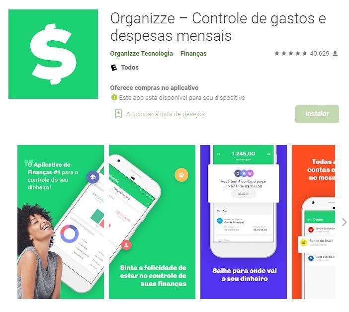Página do Organizze na Google Play (Imagem: Divulgação/Organizze Tecnologia)