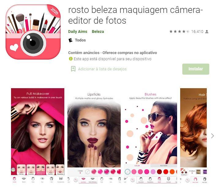 Página do app Rosto Beleza Maquiagem Câmera - Editor de Fotos no Google Play (Imagem: Divulgação/Daily Aims)