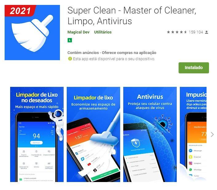 Página do Super Clean no Google Play (Imagem: Divulgação/Magical Dev)