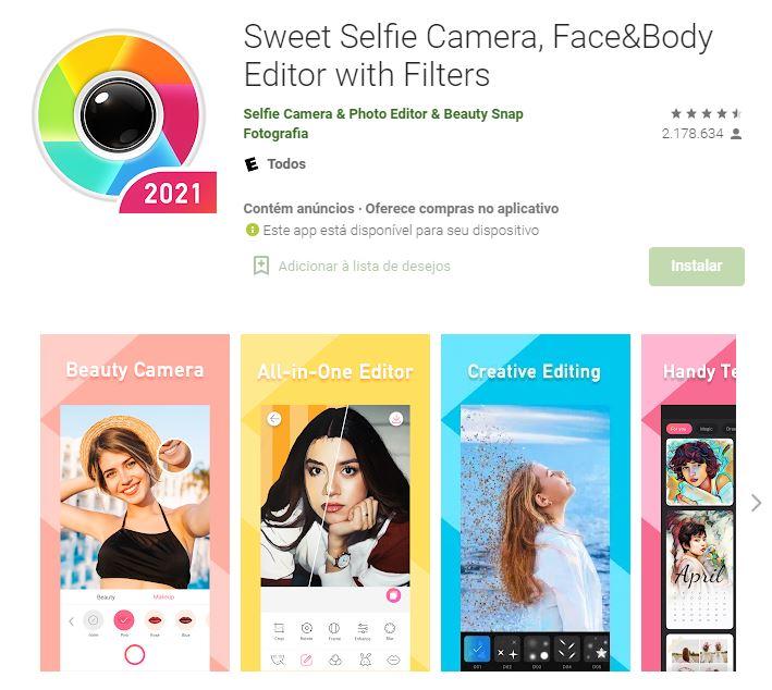 Págian do aplicativo Sweet Selfie Camera, Face&Body Editor with Filters no Google Play (Imagem: Divulgação/Selfie Camera & Photo Editor & Beauty Snap)