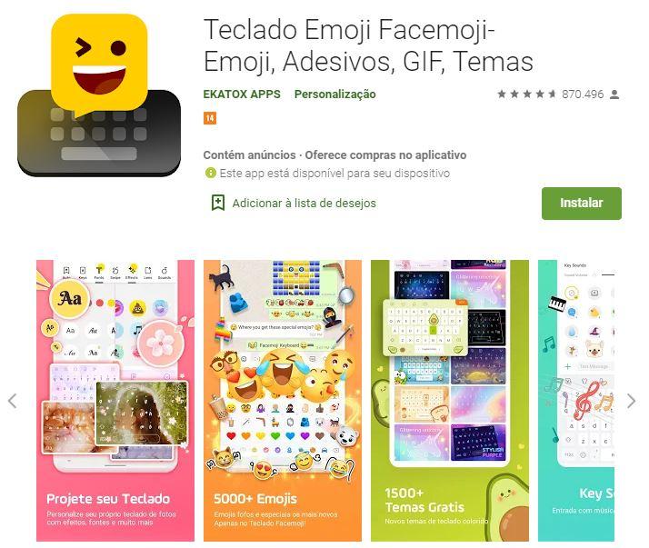 Página do Teclado Emoji no Google Play (Imagem: Divulgação/EKATOX APPS)