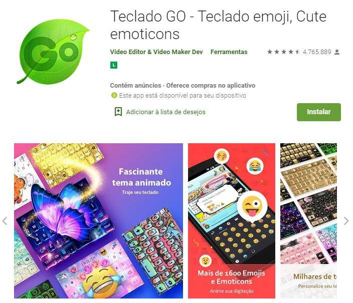 Página do Teclado Go no Google Play (Imagem: Divulgação/Video Editor & Video Maker Dev)
