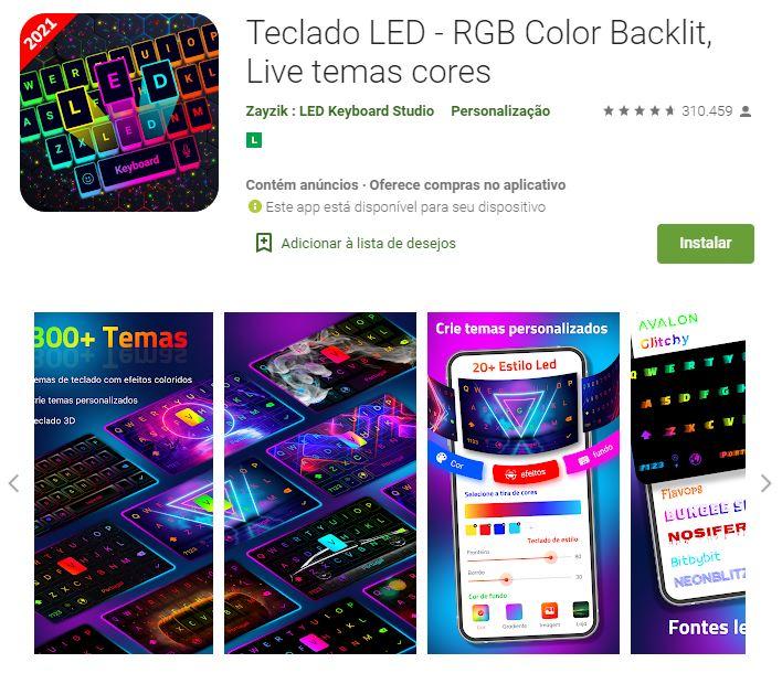 Página do Teclado LED Rgb no Google Play (Imagem: Divulgação/Zayzik: Led Keyboard Studio)