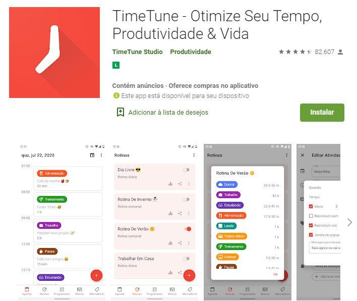 Página do TimeTune na Google Play (Imagem: Reprodução/TimeTune Studio)