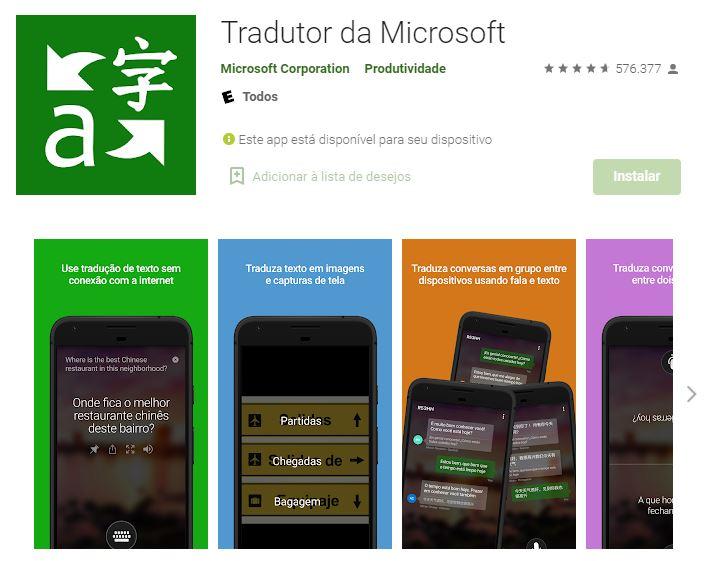 Página do Tradutor da Microsoft no Google Play (Imagem: Reprodução/Microsoft Corporation)