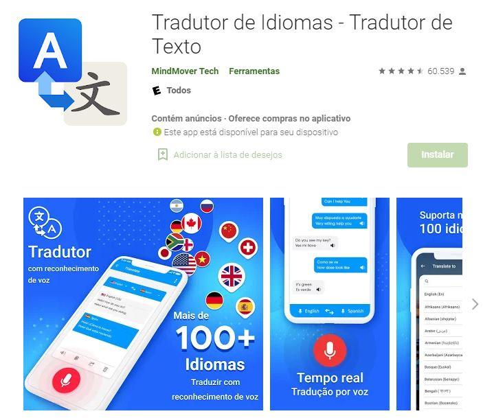 Página do app Tradutor de Idiomas na Google Play (Imagem: Reprodução/MindMover Tech)