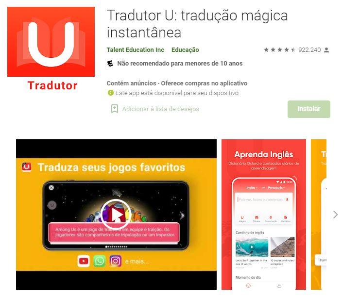Página do Tradutor U no Google Play (Imagem: Talent Education Inc)