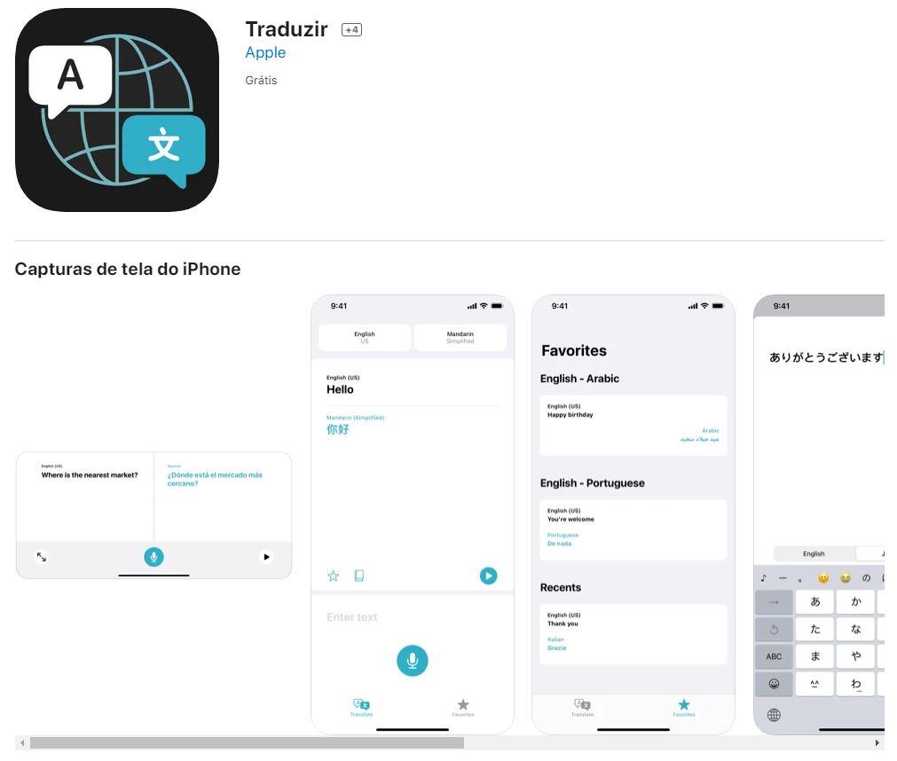 Página do app Traduzir na App Store (Imagem: Reprodução/App)