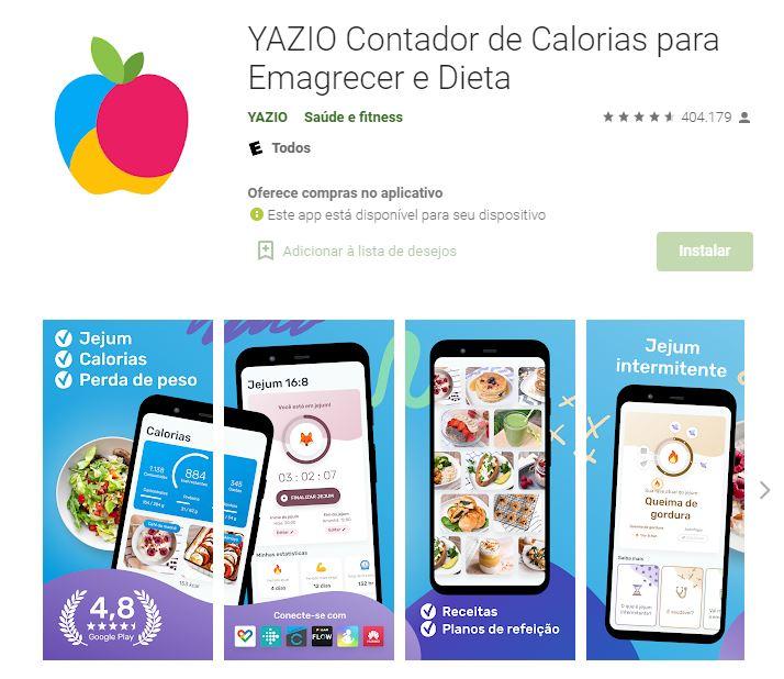 Página do YAZIO no Google Play (Imagem: Divulgação/YAZIO)