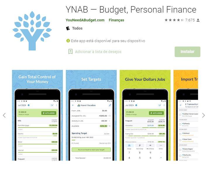 Página do YNAB na Google Play (Imagem: Divulgação/YouNeedABudget.com)