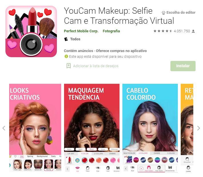 Página do YouCam Makeup no Google Play (Imagem: Divulgação/Perfect Mobile Corp.)