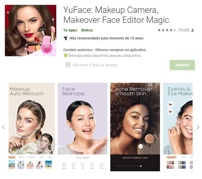 Página do YuFace: Makeup Camera, Makeover Face Editor Magic no Google Play (Imagem: Divulgação/Yu Apps)