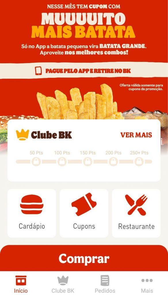 Tela inicial do aplicativo do Burger King (Captura: Alexandre Garcia Peres/Tech News Brasil)