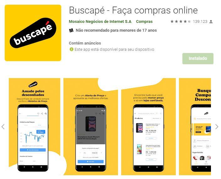 Página do aplicativo do Buscapé no Google Play (Imagem: Divulgação/Buscapé)