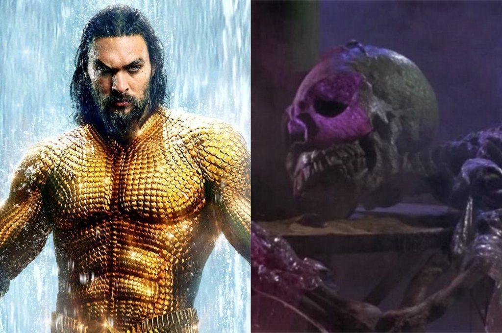 À esquerda, Jason Momoa como Aquaman; à direita, uma cena do filme O Planeta dos Vampiros (Imagem: Reprodução/Warner Bros.   American International Pictures)