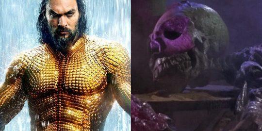 À esquerda, Jason Momoa como Aquaman; à direita, uma cena do filme O Planeta dos Vampiros (Imagem: Reprodução/Warner Bros. | American International Pictures)