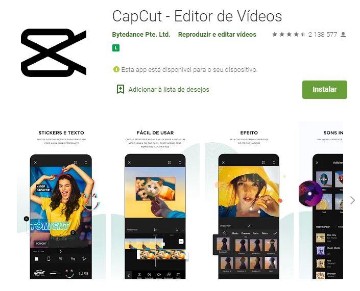 Página do CupCut no Google Play (Imagem: Divulgação/Bytedance Pte. Ltd.)