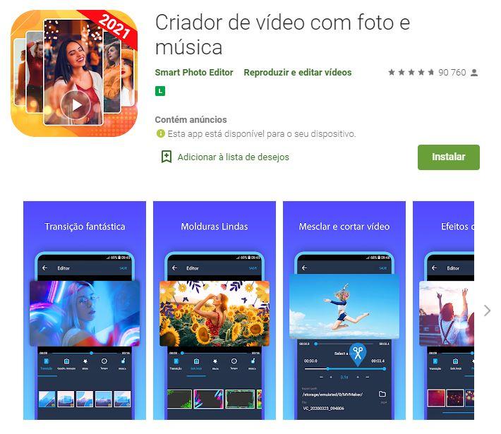 Página do Criador de Vídeo com Foto e Música no Google Play (Imagem: Divulgação/Smart Photo Editor)