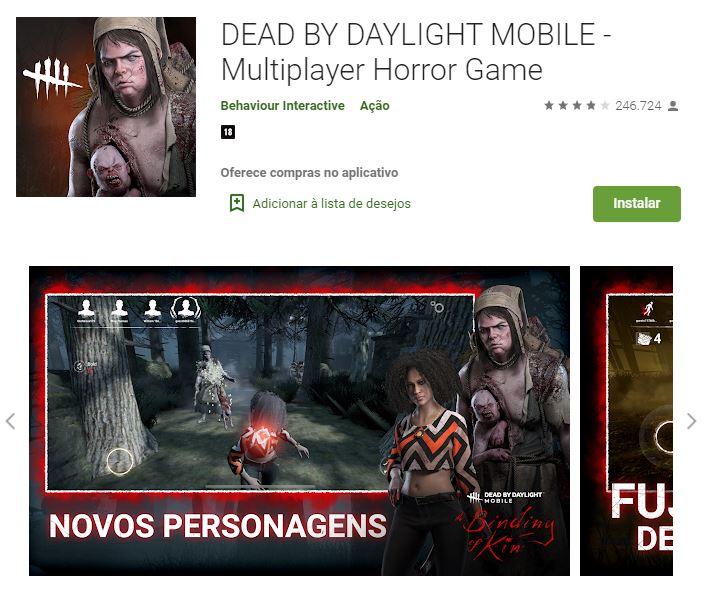 Página da versão mobile de Dead By Daylight no Google Play (Imagem: Divulgação/Behaviour Interactive)
