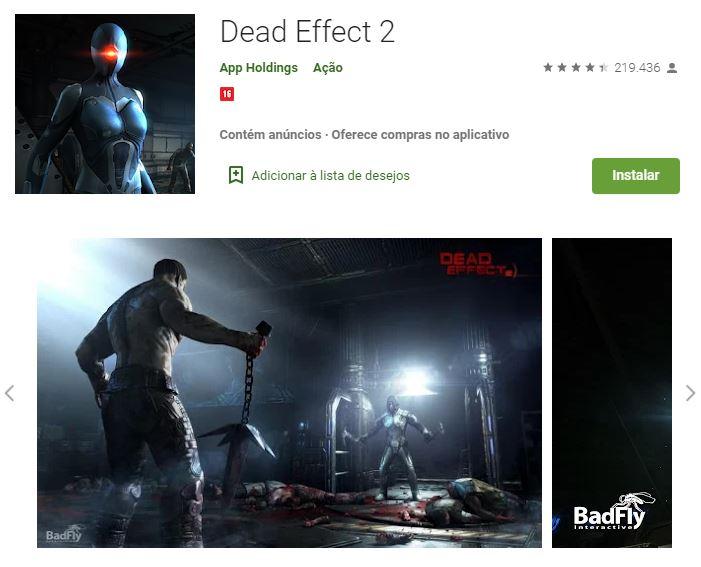 Página do Dead Effect no Google Play (Imagem: Divulgação/App Holdings)