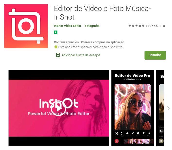 Página do Editor de Vídeo e Foto Música - Inshot no Google Play (Imagem: Divulgação/InShot Video Editor)