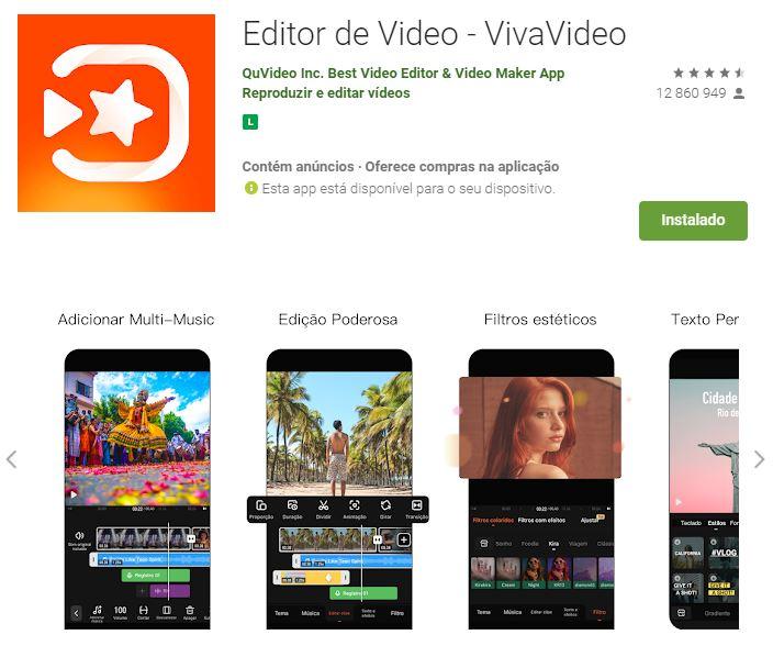 Página do Editor de Vídeo - VivaVideo no Google Play (Imagem: Divulgação/QuVideo Inc. Best Video Editor & Video Maker App)