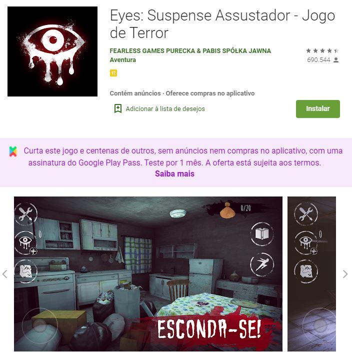 Página do Eyes: Scary Thriller no Google Play (Imagem: Divulgação/Fearless Games Purecka & Pabis Spólka Jawna)