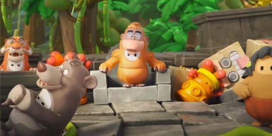 Cena do trailer de anúncio do crossover entre Fall Guys e Mogli (Imagem: Divulgação/Mediatonic)