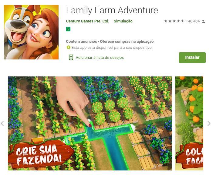 Página do Family Farm Adventures no Google Play (Imagem: Divulgação/Century Games Pte. Ltd.)