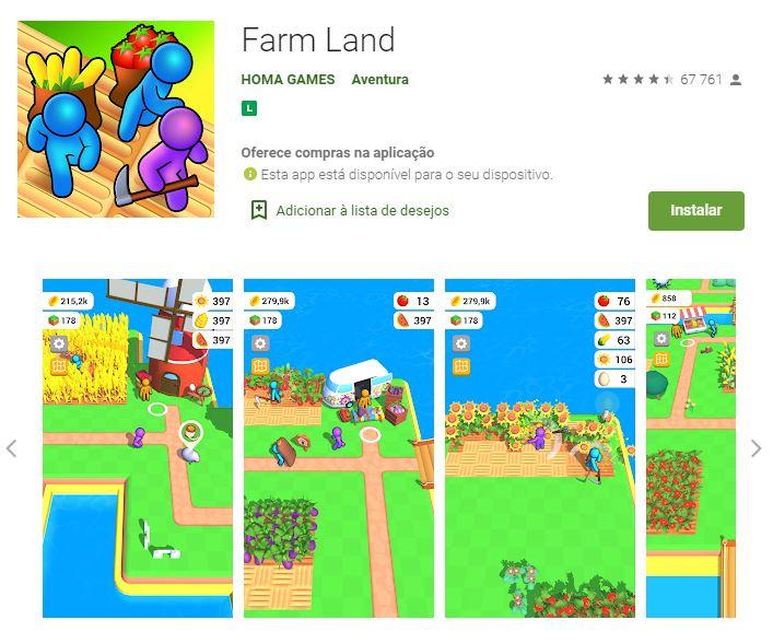Página do Farm Land no Google Play (Imagem: Divulgação/HOMA GAMES)
