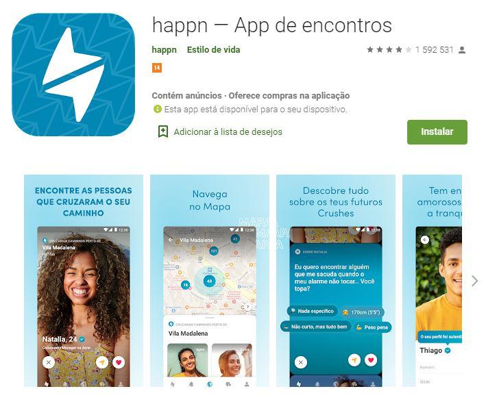 Página do app Happn - App de Encontros no Google Play (Imagem: Divulgação/Happn)