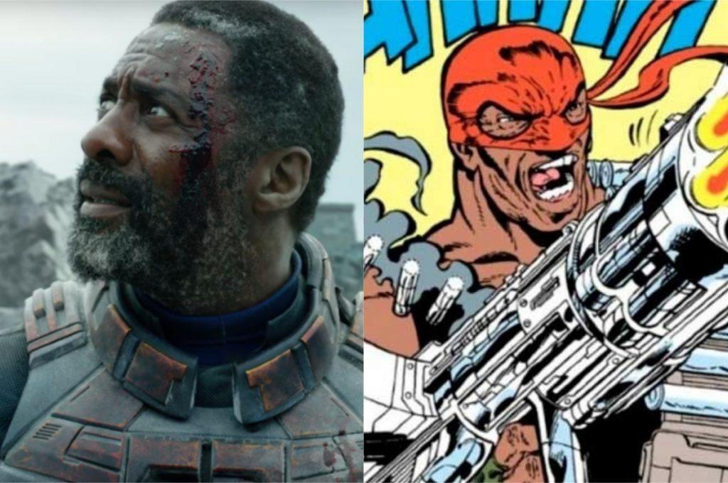 À esquerda, Idris Elba como Sanguinário; à direita, o personagem nos quadrinhos (Imagem: Reprodução/Warner Bros.   DC)