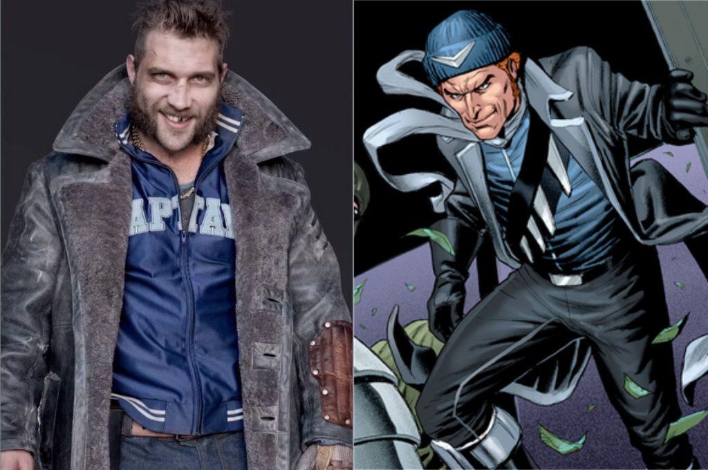 À esquerda, Jai Courtney como Capitão Bumerangue; à direita, o personagem nos quadrinhos (Imagem: Reprodução/Warner Bros.   DC)