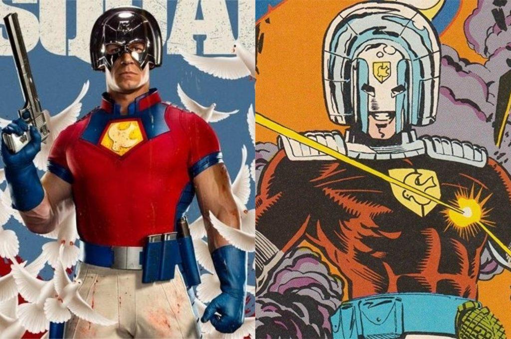 À esquerda, John Cena como O Pacificador; à direita, o personagem nos quadrinhos (Imagem: Reprodução/Warner Bros.   DC)