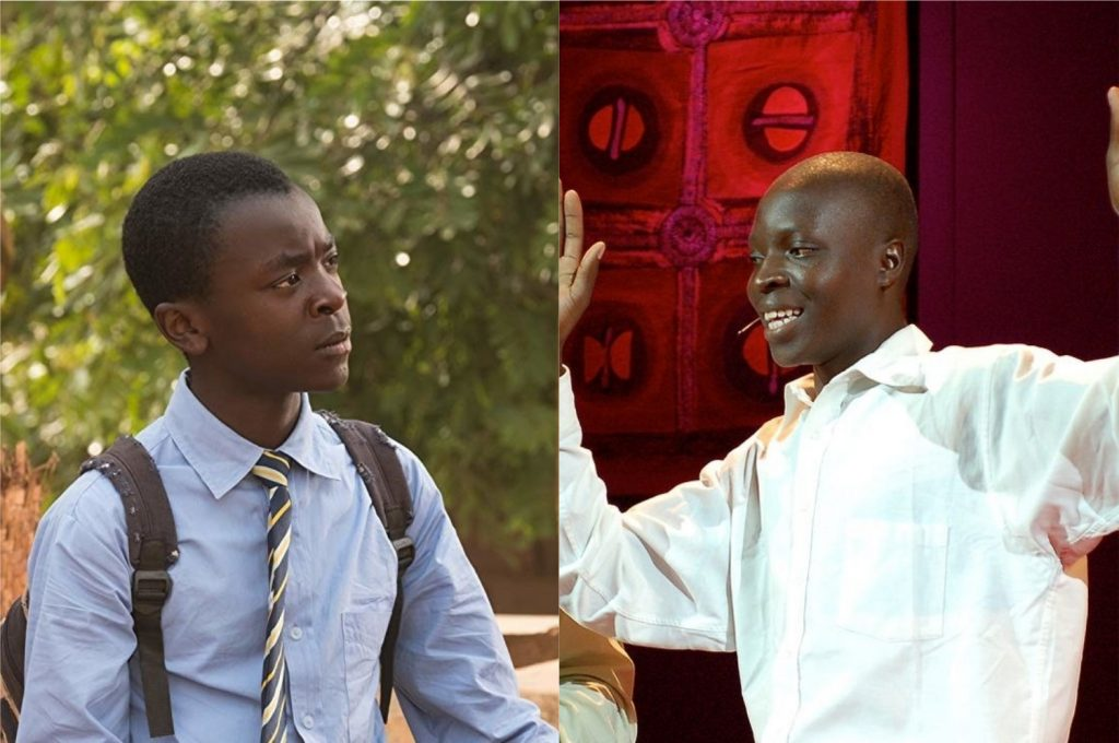 À esquerda, o ator Maxwell Simba interpretando William no filme; à direita, o verdadeiro William Kamkwamba em sua participação no TED (Imagem: Reprodução/TED   Netflix)