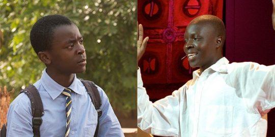 À esquerda, o ator Maxwell Simba interpretando William no filme; à direita, o verdadeiro William Kamkwamba em sua participação no TED (Imagem: Reprodução/TED | Netflix)