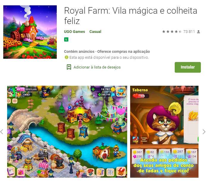 Página do Royal Farm no Google Play (Imagem: Divulgação/UGO Games)
