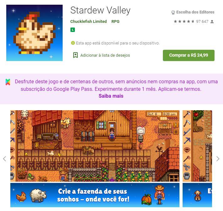 Página do Stardew Valley no Google Play (Imagem: Divulgação/Chucklefish Limited)