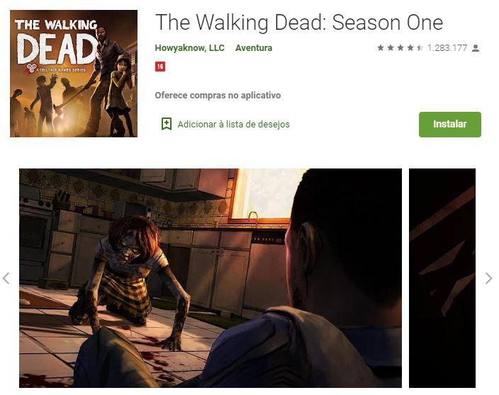 Página de The Walking Dead: Season One no Google Play (Imagem: Divulgação/Howyaknow, LLC)