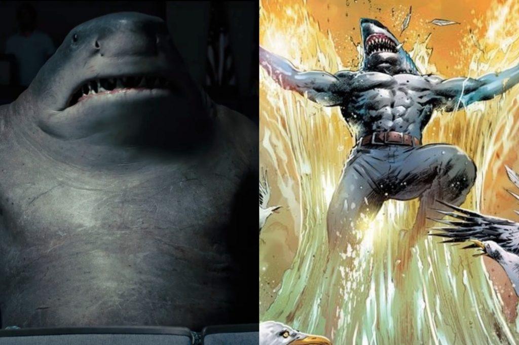 À esquerda, o Tubarão-Rei no filme O Esquadrão Suicida; à direita, o personagem nos quadrinhos (Imagem: Reprodução/Warner Bros.   DC)