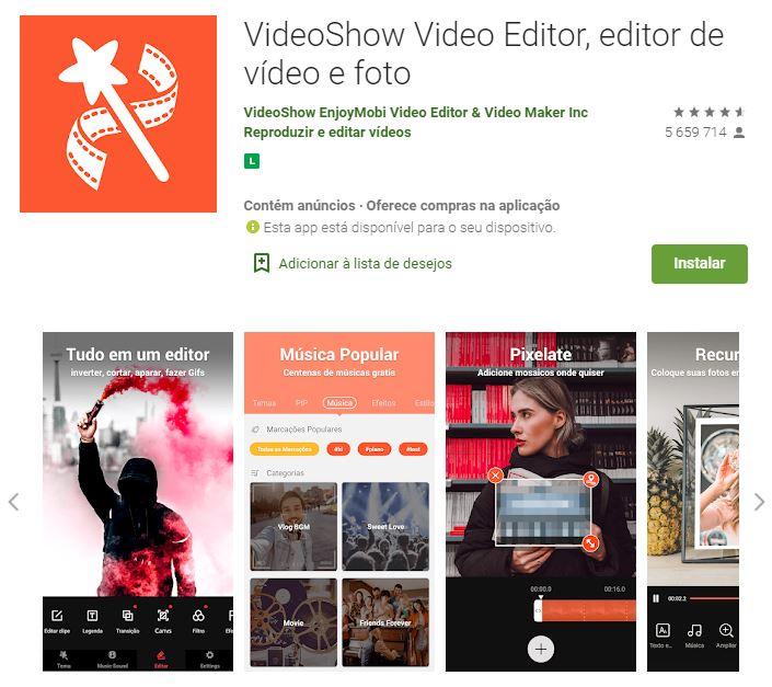Página do VideoShow Video Editor no Google Play (Imagem: Divulgação/VideoShow EnjoyMobi Video Editor & Video Maker Inc)