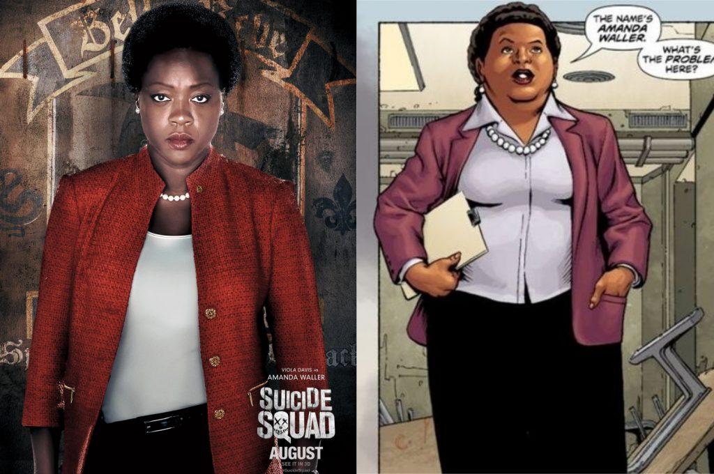 À esquerda, Viola Davis como Amanda Waller; à direita, a personagem nos quadrinhos (Imagem: Reprodução/Warner Bros.   DC)