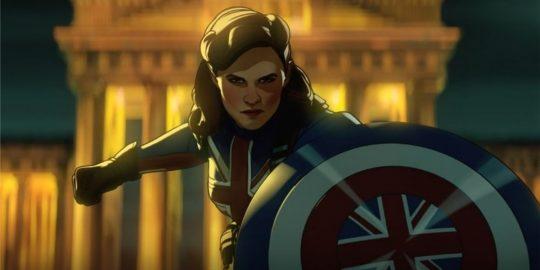 Peggy Carter como Capitã Carter no primeiro episódio de What if...? (Imagem: Reprodução/Marvel Studios)