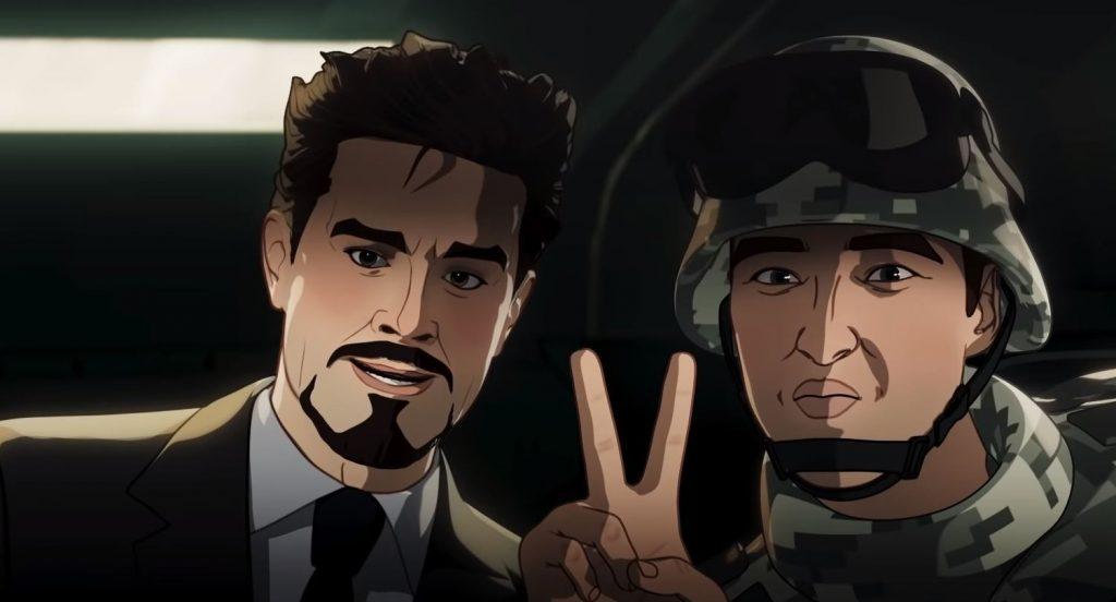 Versão animada do começo do primeiro filme do Homem de Ferro em What if...? (Imagem: Reprodução/Marvel Studios)