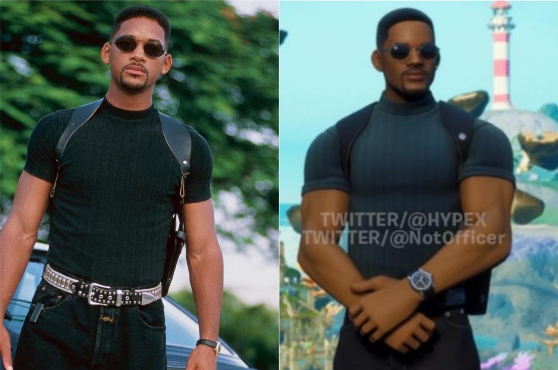 À esquerda, Will Smith no filme Bad Boys; à direita, sua possível skin no Fortnite (Imagem: Reprodução/Columbia Pictures | @Hypex)