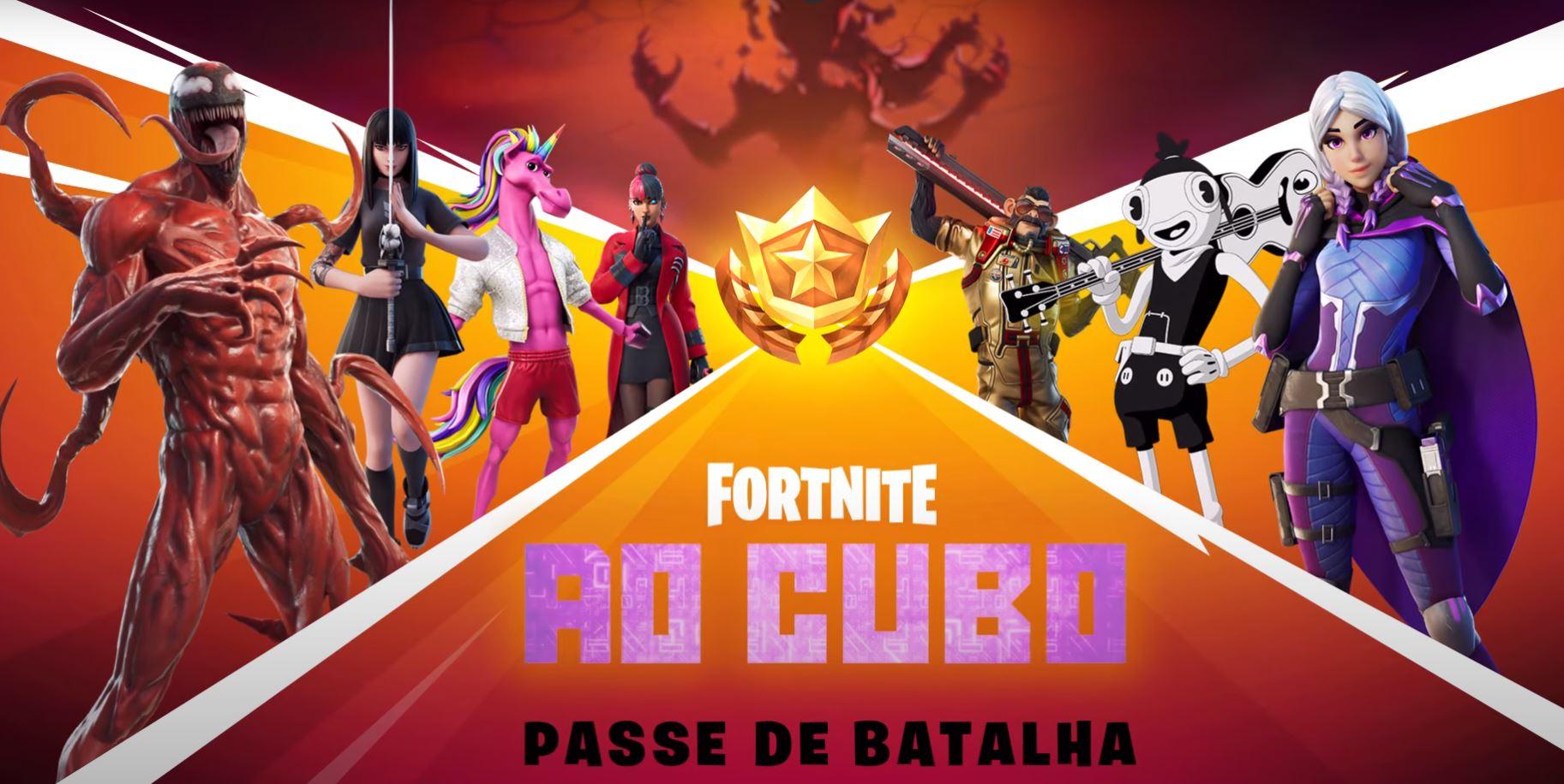 """Passe de batalha da Temporada 8 do Capítulo 2 de Fortnite, chamada """"Ao Cubo"""" (imagem: Divulgação/Epic Games)"""