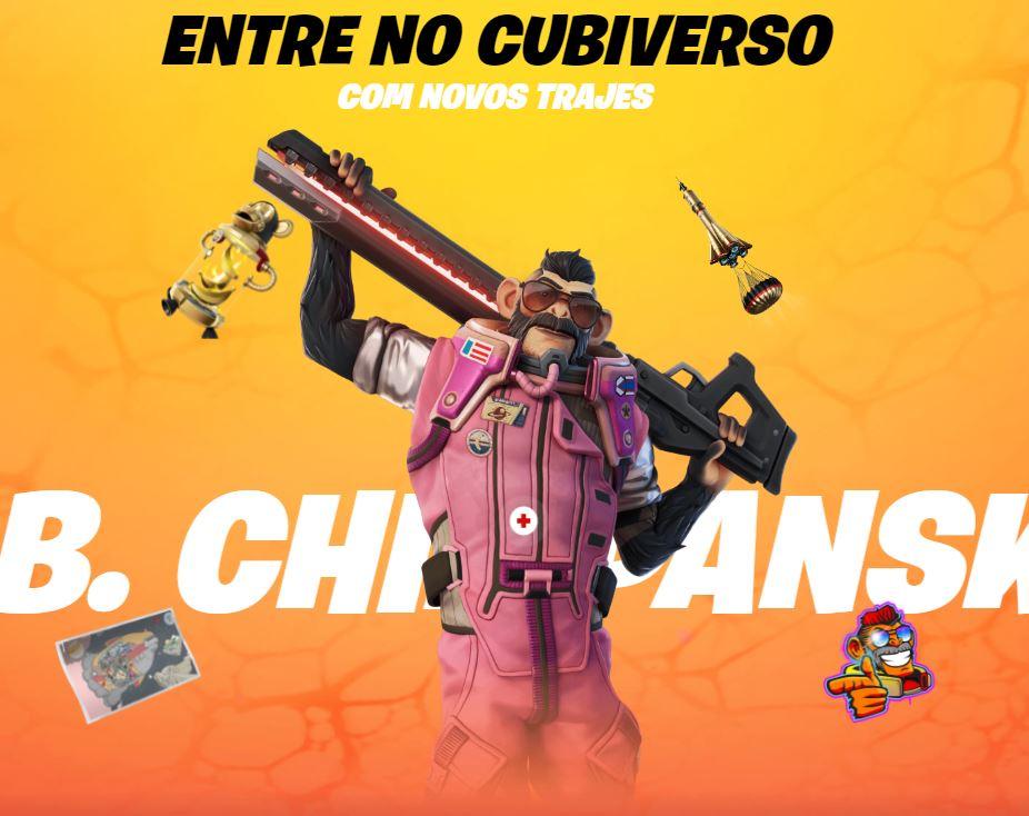 J. B. Chimpanski, uma das novas skins do Passe de Batalha (Imagem: Divulgação/Epic Games)