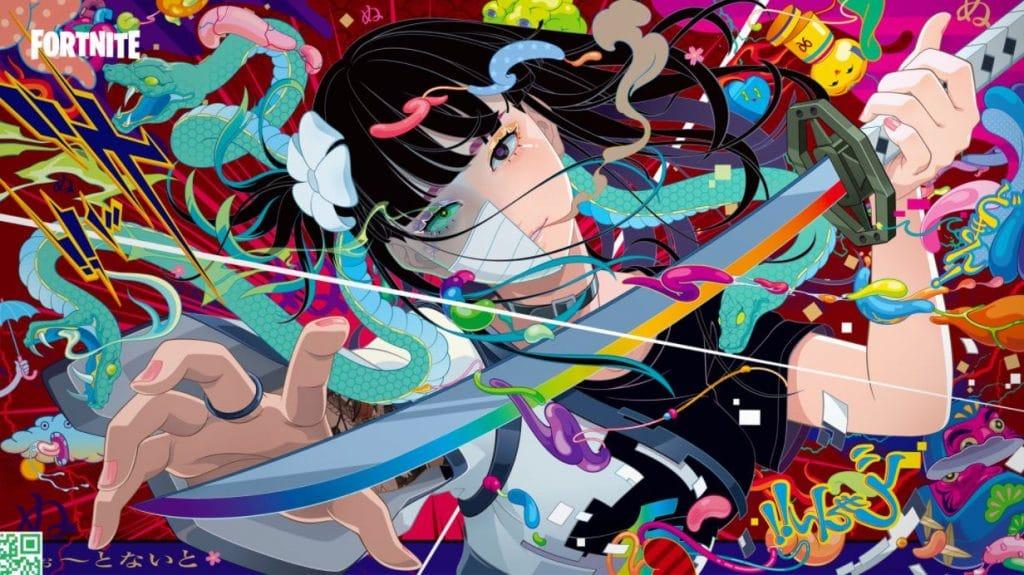 Nova skin da temporada 8 do capítulo 2 de Fortnite com temática de anime (Imagem: Divulgação/Epic Games)
