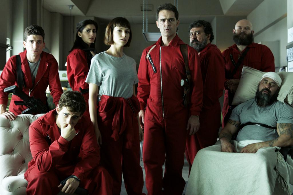 A equipe na 2ª temporada de La Casa de Papel (Imagem: Divulgação/Netflix)